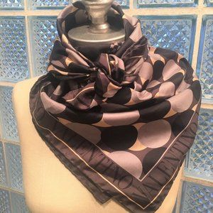 Neutral VALENTINO Silk Scarf! Gray Black Tan ITALY